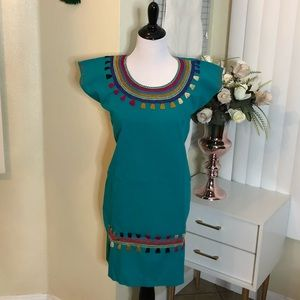100% Hand Made Turquoise Dress